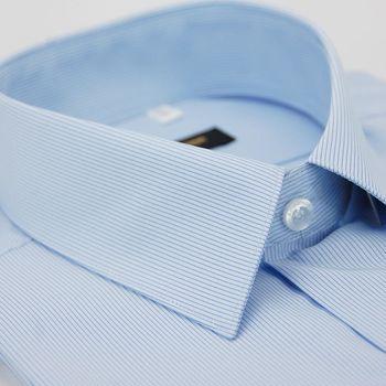 【金安德森】藍底黑細紋涼感短袖襯衫