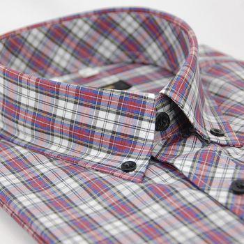 【金安德森】藍紅白格紋黑釘釦短袖襯衫