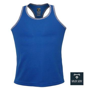 【VALOR BEAR】台灣製涼感吸濕排汗背心/寬鬆無腰身/中性款S-XL-(藍黑橫紋119款)