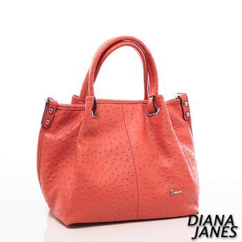 Diana Janes 牛皮鴕鳥皮壓紋造型兩用包