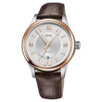 Oris豪利時 Classic 文化系列日期機械錶 銀x玫塊金框x咖啡錶帶 42mm 0173377194371-0752032