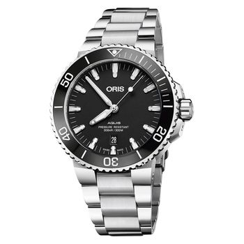Oris豪利時 Aquis 時間之海潛水300米日期機械錶 黑 43.5mm 0173377304154-0782405PEB