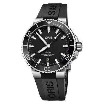 Oris豪利時 Aquis 時間之海潛水300米日期機械錶 黑 43.5mm 0173377304154-0742464EB