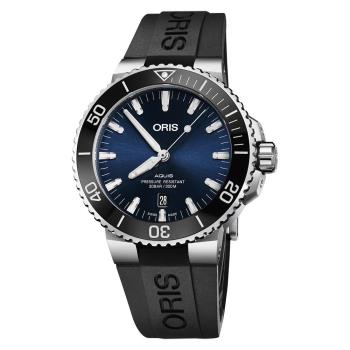 Oris豪利時 Aquis 時間之海潛水300米日期機械錶 藍x黑色膠帶 43.5mm 0173377304135-0742464EB