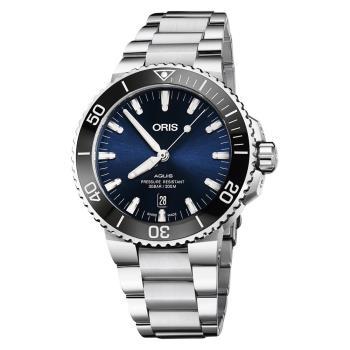 Oris豪利時 Aquis 時間之海潛水300米日期機械錶 藍x銀 43.5mm 0173377304135-0782405PEB