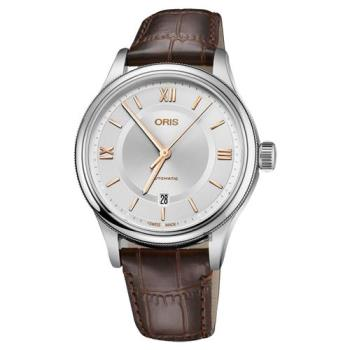 Oris豪利時 Classic 文化系列日期機械錶 銀x咖啡錶帶 42mm 0173377194071-0752032