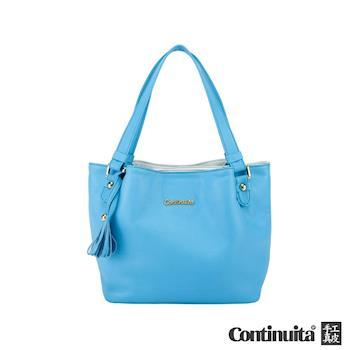 【Continuita 康緹尼】質感手提花朵包-藍色