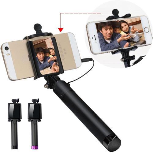 YANGYI 升級版迷你後視鏡自拍桿線控相機手機自拍棒