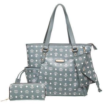 【XINWEI POLO】奢華LOGO風雙側口袋抽繩包附零錢包+皮夾(8129)-灰綠色