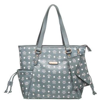 【XINWEI POLO】奢華LOGO風雙側口袋抽繩包附零錢包(8129)-灰綠色