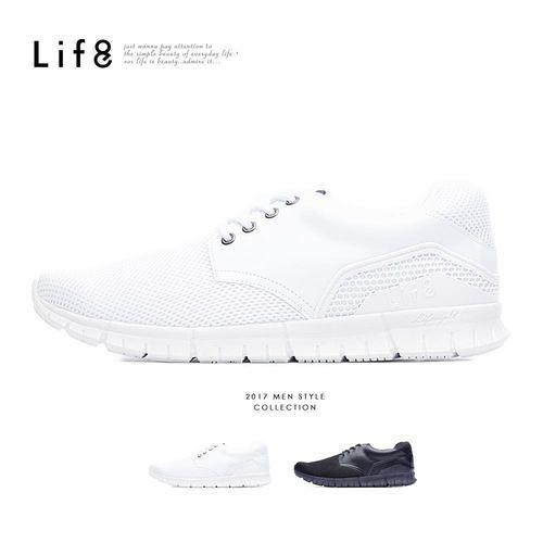 Life8-Casual 輕量 網布 德比光束休閒鞋-09591-黑色/白色