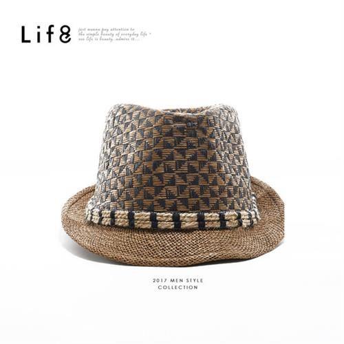 Life8-Casual 民族風紋 編織草帽-05256-深棕色/卡其色