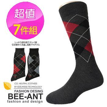 【AILIMI】200細針大菱格休閒紳士襪(7件組)