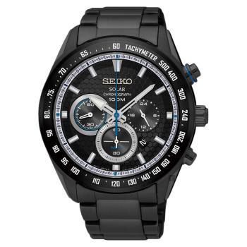SEIKO精工 Criteria 太陽能限定計時手錶 鍍黑 43mm V175-0EE0SD SSC591P1