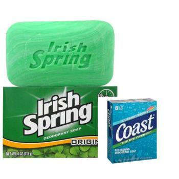 【美國 Irish Spring】清新體香皂美國(4oz/113g)*12+ Coast 經典海洋運動香皂-經典香味(4oz/113g)*8/組