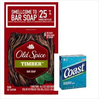 【美國 Old Spice】經典香水皂-木香Timber(141g)*2入/*3+美國COAST 海岸運動香皂(113g)*8