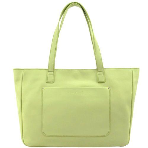 agnes b. 前口袋logo壓印皮革托特包-粉綠