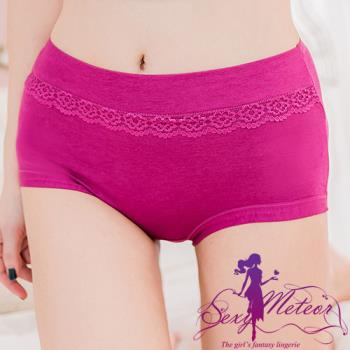 【Sexy Meteor】大尺碼-魅力翹臀蕾絲花邊高腰三角內褲(葡萄紫)A2437-02