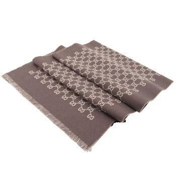 GUCCI雙面提花GG羊毛圍巾(米x巧克力)