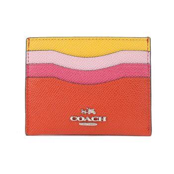 COACH 四色拼接防刮名片卡夾(黃粉紅)