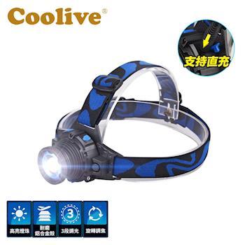 Coolive CREE Q5 LED 旋轉變焦強光頭燈