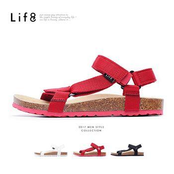 Life8 - Casual 織帶 牛皮墊 可調式記憶涼拖鞋-黑色/白色/紅色-09625