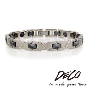 DECO X MASSA-G【冷冽風範】黑色陶瓷純鈦手環