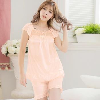 lingling日系 全尺碼-蕾絲蝶結冰絲短袖二件式睡衣組(輕柔淺橘)A3307-03