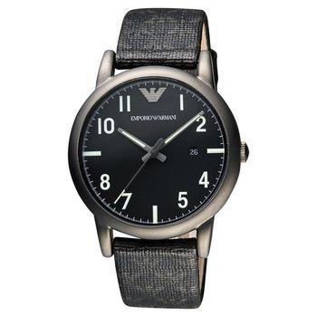 ARMANI Classic 品牌壓紋時尚腕錶 黑 41mm AR1834