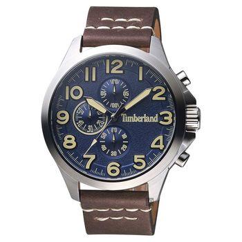 Timberland天柏嵐 Brenton 三眼計時手錶 藍x咖啡錶帶 46mm TBL.15026JS/03