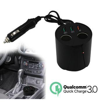 CA-2C3US QC3.0快速充電 2孔USB+2孔點菸輸出杯架式車用充電器(5V/10A)