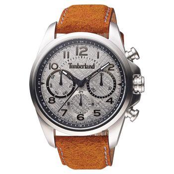 Timberland 軍事絕地任務時尚腕錶 銀x咖啡 46mm TBL.14769JS/13