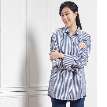 A1 Darin 花朵刺繡翻領條紋襯衫(兩色選一)