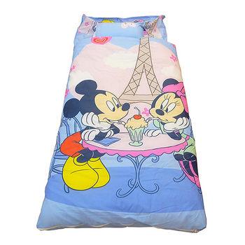 【DISNEY】迪士尼米奇米妮二用幼教兒童睡袋-甜蜜巴黎篇(藍)