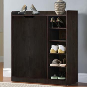 【咱的厝】DIY單排空間雙門五層鞋櫃/鞋架(胡桃色)