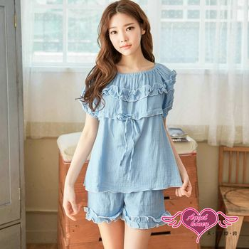 天使霓裳 居家睡衣 清新佳人 二件式成套短袖休閒服(藍F) YQ7115