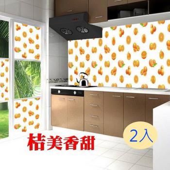 AGL愛潔樂 噴水就黏無膠式廚房/玻璃藝術壁貼- 水果篇[單色2入3款任選] W45*L90cm