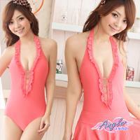 天使霓裳 泳衣 浪漫步調 兩件式連身裙泳裝(共兩色M~XL) SQ13112