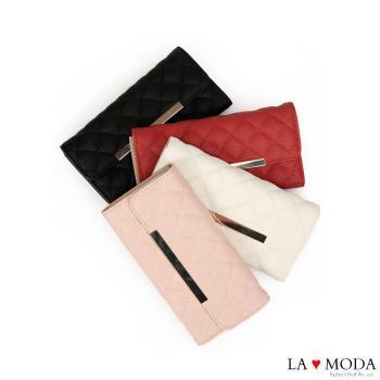 La Moda 經典小香風菱格紋車線多用途大容量長夾 (共4色)