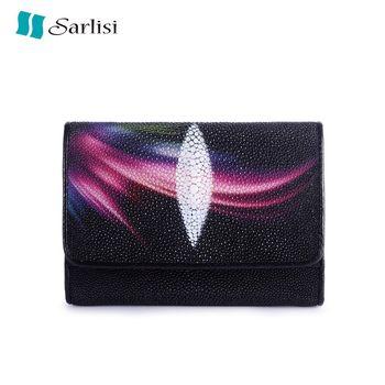 【夏麗絲Sarlisi】泰國原創珍珠魚皮三折短夾(珍珠魚皮-極光)