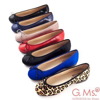 G.Ms. MIT系列-全真皮蝴蝶結蜥蝪紋芭蕾舞鞋- 7色