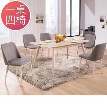 Bernice-瑪格4尺拉合功能餐桌椅組(一桌四椅)
