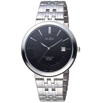 【ALBA 雅柏】簡約大三針黑面不銹鋼腕錶(40mm/VJ42-X224N)