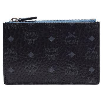 MCM Color Visetos系列經典塗層帆布牛皮飾邊拉鍊鑰匙/零錢包(黑X藍)