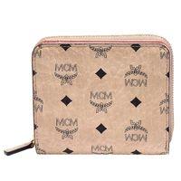 MCM Color Visetos系列經典塗層帆布牛皮飾邊拉鍊短夾(裸X粉)