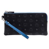 MCM Color Visetos系列經典塗層帆布牛皮飾邊拉鍊手拿包(黑X藍)