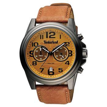 Timberland 雙時區顯示腕錶腕錶 橘黃x咖啡 46mm TBL.14518JSU/20