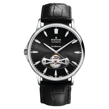 EDOX Les Bemonts Open Vision 薄曼系列機械腕錶 黑 E85021.3.NIN