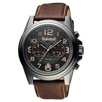Timberland 雙時區顯示腕錶腕錶 鐵灰x咖啡 46mm TBL.14518JSU/61A