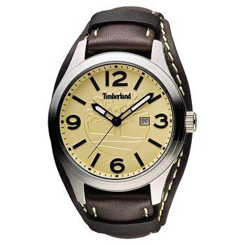 Timberland Moringa 風範時尚腕錶腕錶 黃x咖啡 46mm TBL.14476JS/07